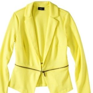 Mossimo Neon Yellow Ponte Zipper Jacket, xs